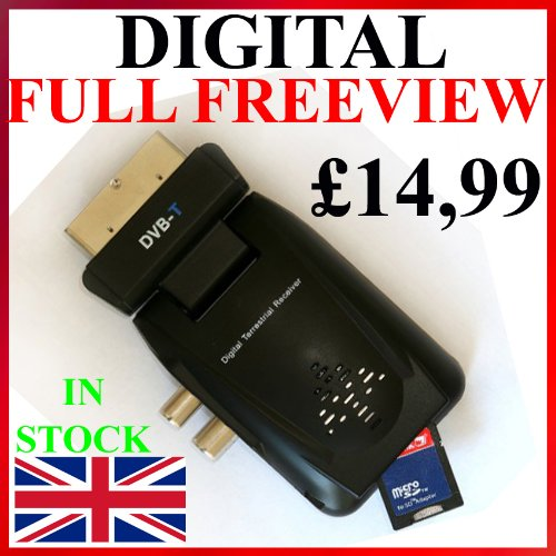 NEW Freeview Digital TV Receiver Tuner Scart Set Top Box & Recorder ANALOGUE TO DIGITAL TELEVISION CONVERTER 1 YEAR WHATEVER HAPPENS WARRANTY Record & Watch Via USB & SD CARD