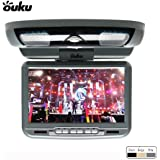 Ouku -Grey Gray 9-Inch Flip Down Roof Mount Monitor and DVD Player with Wireless FM Modulator/ IR Transmitter USB and SD Card Inputs