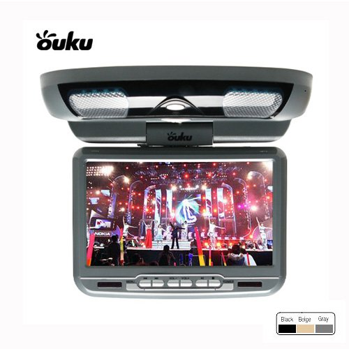 Ouku -Grey Gray 9-Inch Flip Down Roof Mount Monitor And Dvd Player With Wireless Fm Modulator/ Ir Transmitter Usb And Sd Card Inputs front-874584