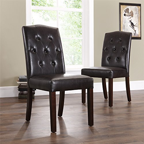Set Of 2 Dining Room Furniture Tufted Brown Leather Dining: Dorel Living Bonded Leather Tufted Parson Dining Room