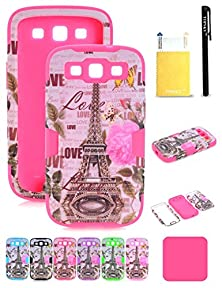 buy Galaxy S3 Case,Galaxy S3 Eiffel Tower Case,Topsky(Tm) Heavy Duty Hybrid 3 Layer Rugged Hard Cover Silicone Shell Inside Case For S3 With Screen Protector And Stylus,Kktt Hot Pink