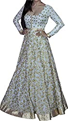 Khazanakart New Attractive White Colour Cotton Silk Fabric Bollywood Style Designer Salwar Suit Dress Material For Women