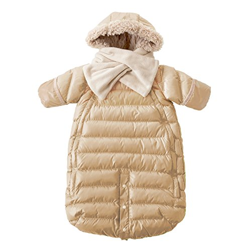 7AM Enfant Doudoune One Piece Infant Snowsuit Bunting, Beige, Large