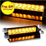 DIYAH 8 LED Warning Caution Car Van Truck Emergency Strobe Light Lamp For Interior Roof Dash Windshield (Amber)