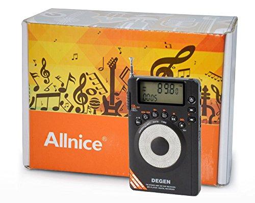 Allnice® Digital De1123 Dsp Am/Fm/Sw Pocket Radio With Built-In 2Gb Mp3 Player & Recorder
