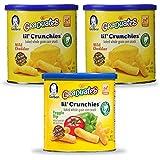 Gerber Graduates Lil Crunchies, Cheddar & Veggie Dip Variety Pack, 1.48 Oz (Pack of 3)