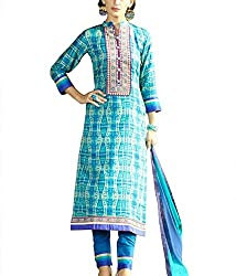 She Fashion Boutique Blue and multicolored glace cotton printed material with embroidery for elegant office wear