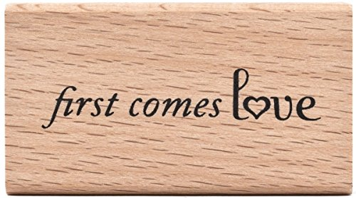 "American Crafts Mounted Rubber Stamp 2.25""X1.25""-First Comes Love"