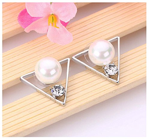 [Mr Ribbt The New Triangle Temperament Diamond Earrings Inlaid Pearl Earrings Fashion Style Earrings Hypoallergenic] (National Costume Of All Countries)