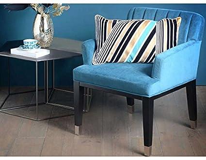 Fauteuil bleu carré velours chic