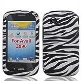 Paquete de accesorios para Straight Talk Mérito ZTE Android   Diseñador Wild Zebra cubierta protectora dura y BaseballDroid Decal transparente / claro