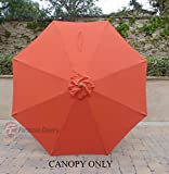 9ft Umbrella Replacement Canopy 8 Ribs in Orange (Canopy Only)