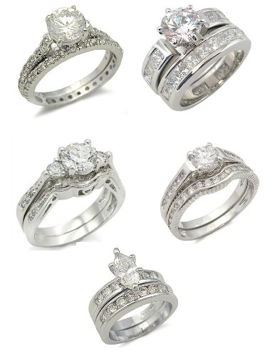 5 Sets of CZ Wedding Rings for $100.00 FREE SHIPPING Big Saving