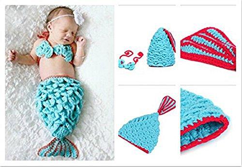 Schatziestore Foto Fotografie Prop Baby Kostüm blau Meerjungfrau häkel Stricken Handarbeit