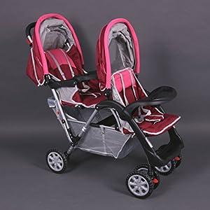 Tandem - Cochecito gemelos rosa - BambinoWorld en BebeHogar.com