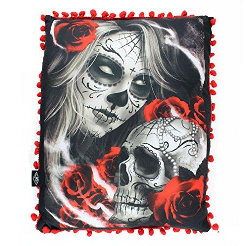 Liquor Brand Sugar Doll Tattoo cuscino-Eternal Bliss cuscino decorativo Dia de los Muertos Nero/Rosso