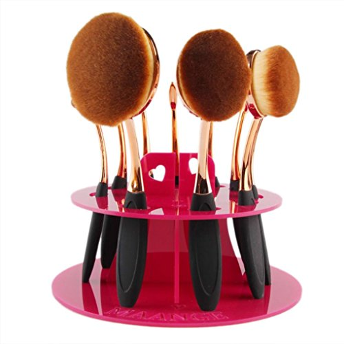 DATEWORK 10 Hole Oval Makeup Brush Holder Drying Rack (Hot Pink)