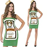 Ladies Green Jagermeister Bottle Mini Dress & Hat Alcohol Fun Hen Do Party Fancy Dress Costume Outfit