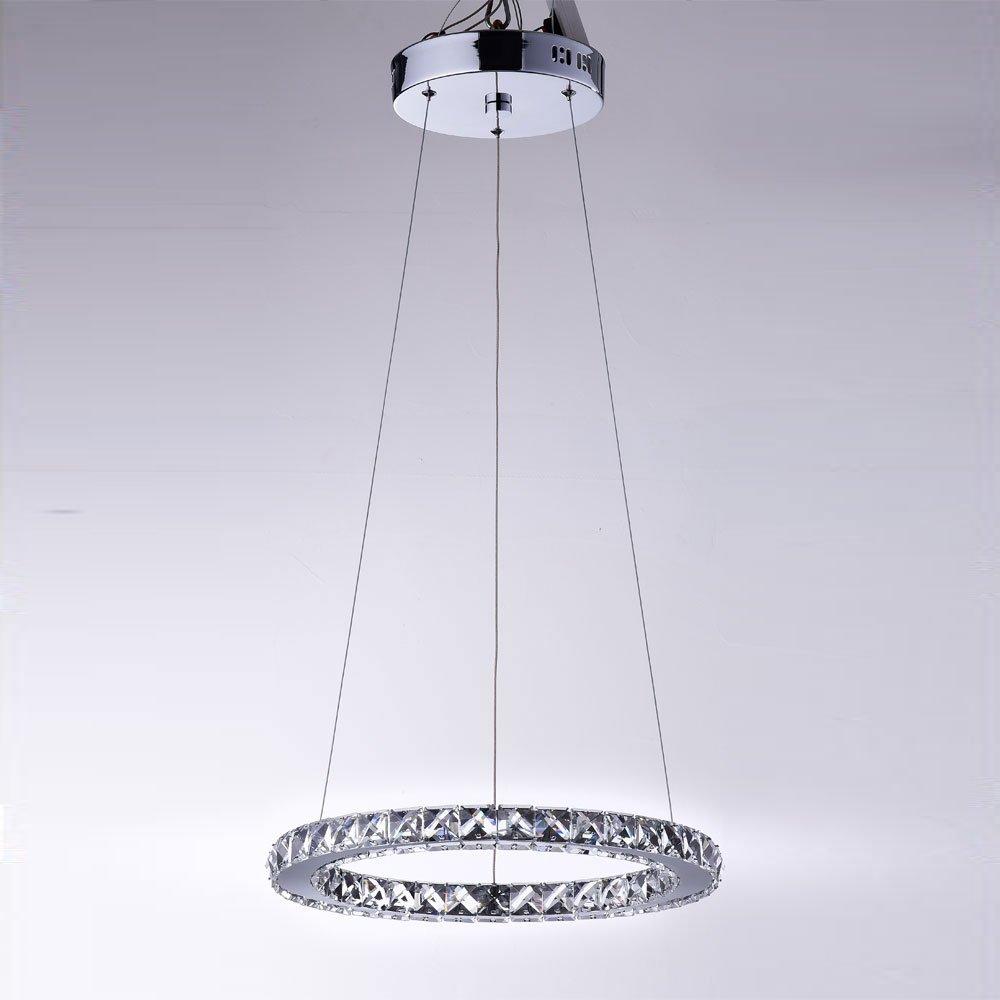 claxy modern led kristall 1 ring 40cm zyklische deckenleuchte h ngeleuchte pendellampe in 16w. Black Bedroom Furniture Sets. Home Design Ideas