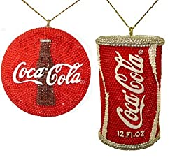 Club Pack of 12 Beaded Coca-Cola Can and Bottle Cap Christmas Ornaments