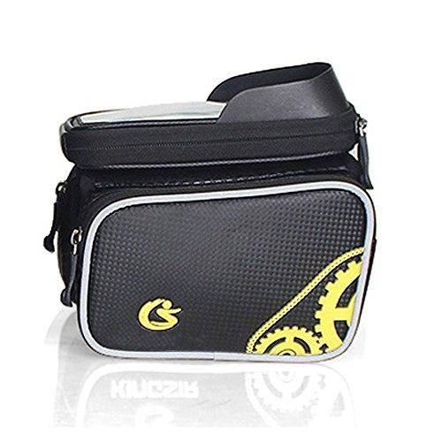 TANGMI u 5.5Ciclismo Bicicletta sacchetto impermeabile doppia borsa tubo Touch Screen Doppia Cerniera Anteriore MTB bici Borsa 5.5L capacità per cellulari, smartphone, giallo