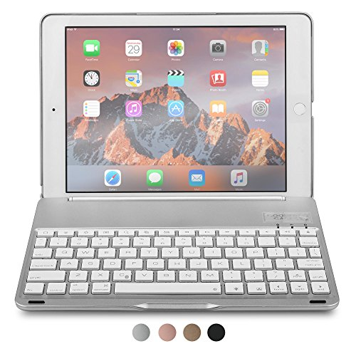 iPad Air 2 Keyboard case, COOPER NOTEKEE F8S Bluetooth QWERTY Wireless Keyboard Hard Clamshell Carrying Case Cover with 7 Backlit Colors for Apple iPad Air 2 (Silver) (Best Keyboard Case For Ipad Air 2 compare prices)