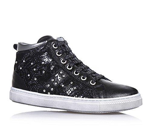NERO GIARDINI - Sneaker nera stringata, in pizzo e pelle, con chiusura a zip laterale, logo e strass laterali, cuciture a vista , Bambina, Ragazza, Donna-30
