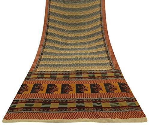 indian-sari-vintage-floral-craft-tissu-crepe-soie-beige-imprime-saree-5yd-occasion