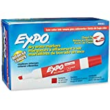 Expo 2 Low-Odor Dry Erase Markers, Chisel Tip, 12-Pack, Red