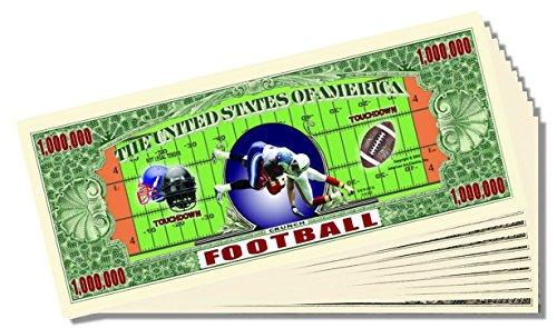 Football Novelty Million Dollar Bill - 25 Count with Bonus Clear Protector & Christopher Columbus Bill