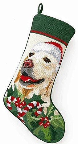 Golden Retriever Dog Wool Needlepoint Christmas Stocking