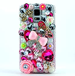 Samsung Galaxy Note 4 Case, Sense-TE Luxurious Crystal 3D Handmade Sparkle Glitter Diamond Rhinestone Ultra-Thin Clear Cover with Retro Bowknot Anti Dust Plug - Sexy Girls Bowknot Flowers Heart / Pink