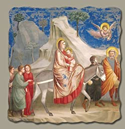 Flight into Egypt by Giotto, Italian-Made Fresco Reproduction on Plaster, 7 1/2 inches x 7 inches x 3/8 inches