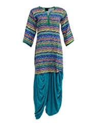 VLF Women's Cotton Side Cut Salwar Suit (VLF0076, Printed, L)