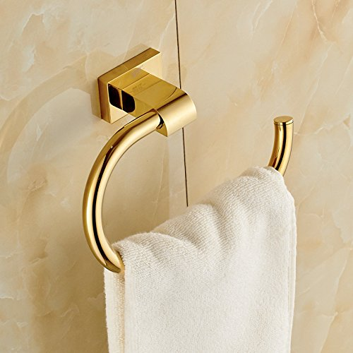 Gold finish brass bath towel rack wall mount clothes for Bathroom clothes hanger