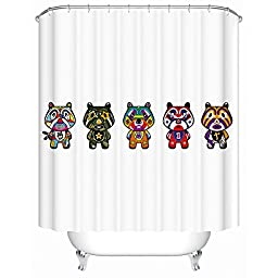 Enjelwang Eco Friendly Mildew Resistant Washable Cartoon Shower Curtain for Kids Bathroom Water-Repellant Polyester Shower Curtains for Home Decor 180x200cm (Cartoon Tigers-Multi Colors)