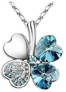 Kleeblatt Kette mit schönen Kristallen in Aquamarin Blau (4000)