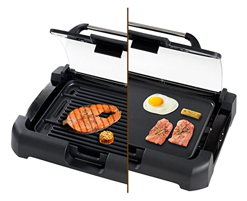 Secura 1700W Electric Reversible Grill Griddle with Glass Lid GR-1503XL (Indoor Electric Grill With Lid compare prices)