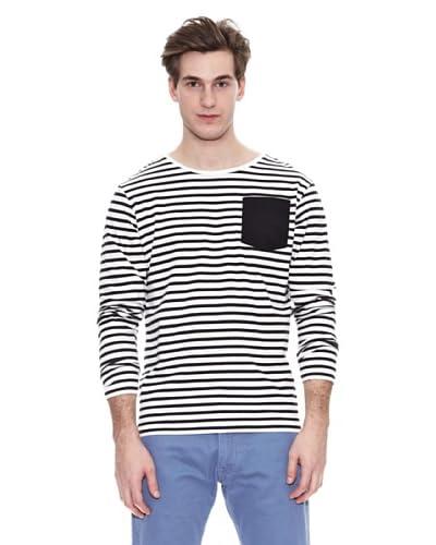 Springfield Camiseta Str Ml Marinera Pocket Negro / Blanco
