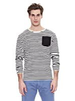 Springfield Camiseta Str Ml Marinera Pocket (Negro / Blanco)