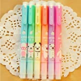 Set of 6 Cute Kawaii Novelty Cartoon Colored Assorted Animals Double Tips Highlighters Pens Fluorescent Ink Markers 6 Different Colors Set For Books (Color: pink,yellow,orange,blue,green,purple)
