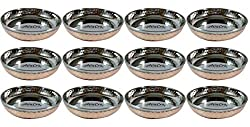 AsiaCraft Inside Steel Outside Copper Hammered Handmade Dessert Bowl Dia- 4.5, Set Of 12