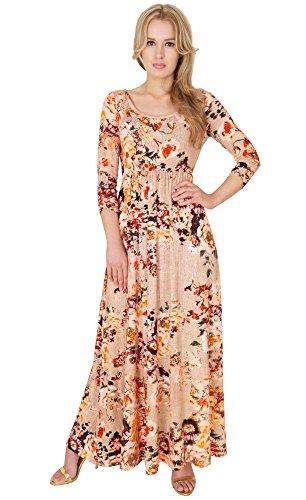 Long Summer Dress Round Neck Empire Style Maxi Dress Flower UK Design By MontyQ