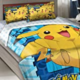 Officially Licensed Twin Full Bed Comforter and Sham Set - Pokemon Pikachu