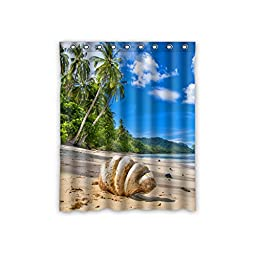 Gifts Close to the Beach Palm Tree Polyester Custom Blackout Window Curtains 52\