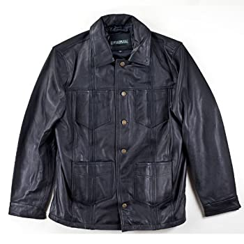 Black leather guayabera jacket. Limited inventory