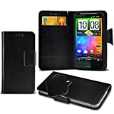 (Black) HTC Desire HD Protective Mega Thin Faux Leather Suction Pad Wallet Case Cover Skin With Credit/Debit Card Slots Aventus