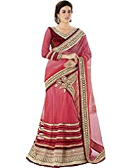 Light Pink Bridal Wear Lehenga Saree Gotta Patti Zari Designer Work Net Satin Sari