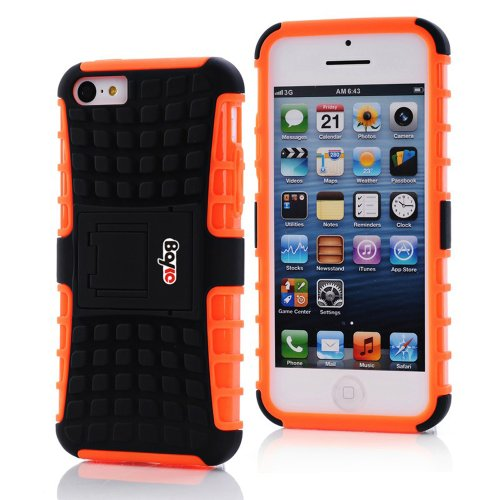 Bayke Brand / Apple Iphone 5 & Iphone 5S 2-Piec Dual Layer Tire Tread Combo Heavy Duty Rugged Matte Skidproof Hard Protective Case Cover With Kickstand (Orange Tpu Inner)
