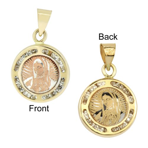 14k Yellow Gold, Laser Engraved Two Sided Virgin Mary Pendant Charm Lab Created Gems